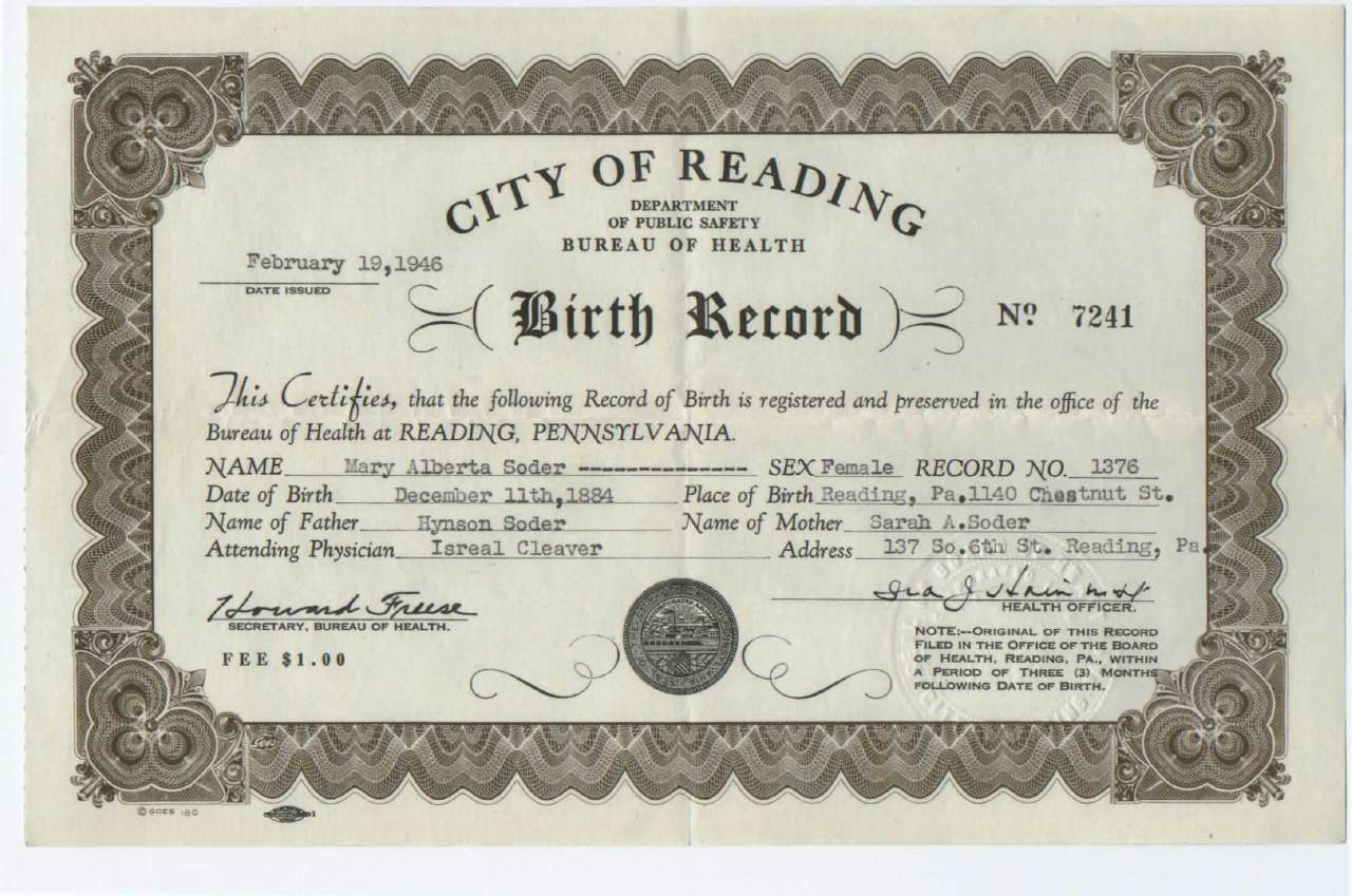 Reissued Birth Certificate For Mary Alberta Soder